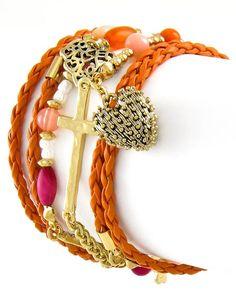 Antique Gold Tone / Orange Cord & Acrylic / Clear Rhinestone / Lead Compliant / Lobster-claw / Cross & Love Charm / Wrap Bracelet / Necklace