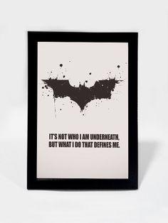 Online Shopping Framed Art Prints & Brand Merchandise India | Batman Quote What I Do Defines Me | Framed Art | PosterGully