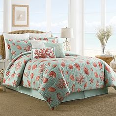 Coastal Life Luxe Coral Reversible Comforter Set