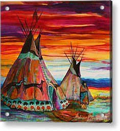 Acrylic Paintings of Native A | Native American Teepee Painting Acrylic Prints - Summer on the Plains ...