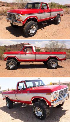 Big Ford Trucks, 1979 Ford Truck, Custom Pickup Trucks, Classic Pickup Trucks, Old Pickup Trucks, Ford Classic Cars, New Trucks, Diesel Trucks, Cool Trucks