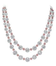 041138d3315 CELLINI Fancy Pink and White Diamond Necklace-Round brilliant-cut white and  natural fancy pink diamonds framed with micro-pavé diamonds
