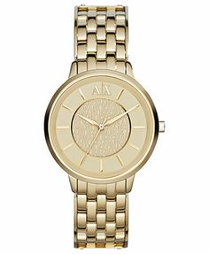 For momma  A X Armani Exchange Watch, Women's Gold Ion-Plated Stainless Steel Bracelet 38mm AX5304