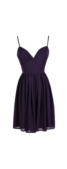 True To You Sweetheart Neckline A-Line Chiffon Dress in Dark Purple  www.lilyboutique.com
