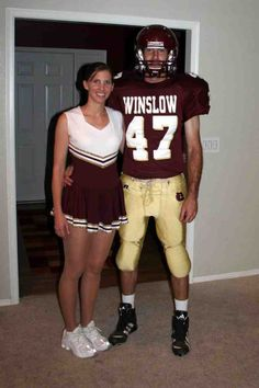 Football Player and Cheerleader Costumes Football Player Costume, Cheerleader Costume, Football Players, Holiday Costumes, Couple Halloween Costumes, Cheer Picture Poses, Teenage Couples, Halloween 2018, Halloween Makeup
