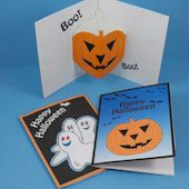 Halloween cards with jack-o'-lantern pop-up