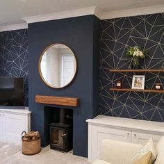 Navy Living Rooms, Blue Living Room Decor, Living Room Color Schemes, New Living Room, Living Room Designs, Living Area, Blue Feature Wall Living Room, Blue And Gold Living Room, Feature Wallpaper Living Room