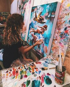 "Interview: Artist Dimitra Milan - ""As I begin to paint the scene, I drift into a right brain realm where I forget time and space and just sort of live inside this painting and the flow of color and brush strokes."" – Artist Dimitra Milan - My Modern Met Art Inspo, Kunst Inspo, Painting Inspiration, Studios D'art, Dimitra Milan, Art Amour, Culture Art, Artist Aesthetic, Artist At Work"
