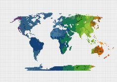 Cross Stitch Pattern World Map Silhouette by ZGCROSSSTITCHPATTERN