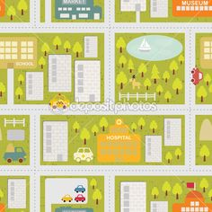 Cartoon map seamless pattern of summer city. — Stock Illustration #13479416