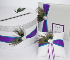 Wedding set - card box and guest book - peacock feathers