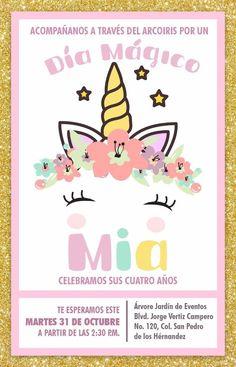 Tarjeta de invitación cumpleaños de Unicornios Arcoiris