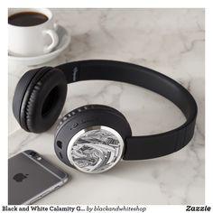 Black and White Calamity Geometric Art Headphones