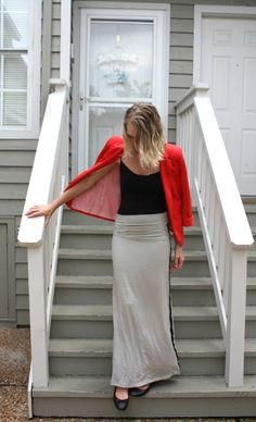 Maxi skirt, black stripe