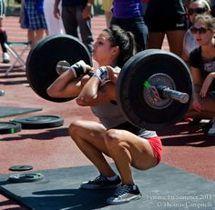 Not sure if she's doing front squat or clean and jerk. Either way, pretty awesome.