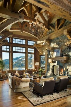 Timber frame mountain home with rustic details in Big Sky More