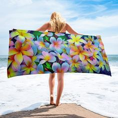 A tropical vibrant look and wrap yourself up with this super soft and cozy all-over sublimation towel. Beach Cabana, Beach Toys, Beautiful Beaches, Printing On Fabric, Hawaiian, Outdoor Blanket, Tropical, Trending Outfits, Creative