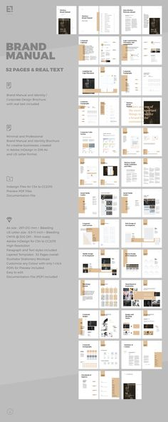Brand Manual and Identity Template – Corporate Design Brochure – with real text!!!Minimal and Professional Brand Manual and Identity Brochure template for creative businesses, created in Adobe InDesign in International DIN A4 and US Letter size.Th