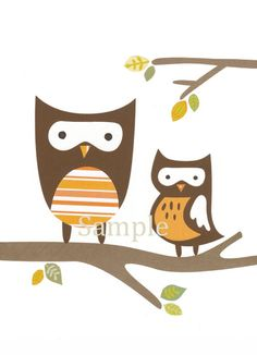 Nursery Children art print - woodland animal owl theme baby decor. $14.00, via Etsy.