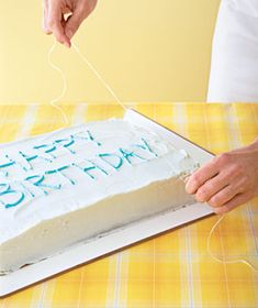 Slicing a Sheet Cake A piece of unflavored waxed dental floss makes faster―and cleaner―cuts than a knife does. Hold a piece of floss taut b. Decorating Tips, Cake Decorating, Birthday Party Treats, Birthday Cakes, Birthday Ideas, Dental Floss, Cake Servings, Real Simple, Cake Tutorial