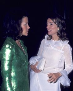 Lee Radziwill talking to a guest at The Museum of Modern Art spring gala, New York, 1973