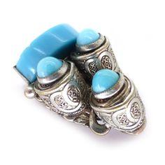 Vintage Czech Blue Glass Art Deco Dress Clip   Clarice Jewellery   Vintage Costume Jewellery