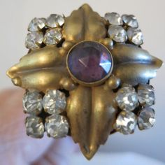 Victorian Hat Pin - Rhinestone and Amethyst