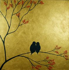 Image detail for -... > Original Paintings - A QiQi Gallery > Sold Paintings > Love Birds