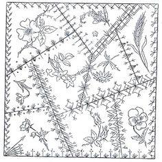 Betty Pillsbury & Green Spiral Herbs A Victorian Crazy Quilt block pattern