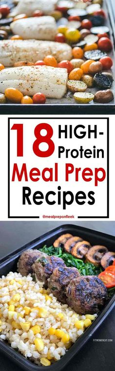 Looking for easy high protein recipes? This list will help! You'll find 18 Healthy High Protein Meal Prep Recipes on this list. Each healthy meal prep recipe will help you reach your protein macros for the day. High Protein Meal Prep, High Protein Recipes, Protein Snacks, Healthy Meal Prep, Healthy Eating, High Protein Dinner, Protein Lunch, High Protien Diet Plan, Keto Meal