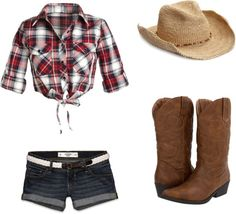 """""""Country girl shake it for me girl"""" by fashion-page on Polyvore. (Like the idea of rolled up sleeve plaid shirt with jean shorts-HC)"""