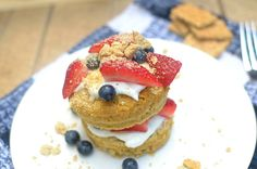 This Healthy Blueberry Strawberry Shortcake Mug Cake is a delicious, quick, easy-to-make and guilt-free dessert for one! Also vegan and gluten-free!