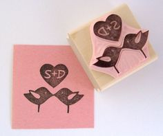 Love Birds Personalized Hand Carved Rubber Stamp