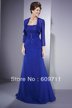Long v-neck evening dresses with lace short jackets | ... Chiffon Blue Mother of The Bride Dress with Jacket Mother Dress