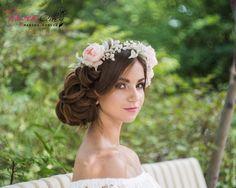 """Купить Венок на голову """"Джулия"""". Ободок с цветами. Цветы из шелка - кремовый, венок из цветов"""