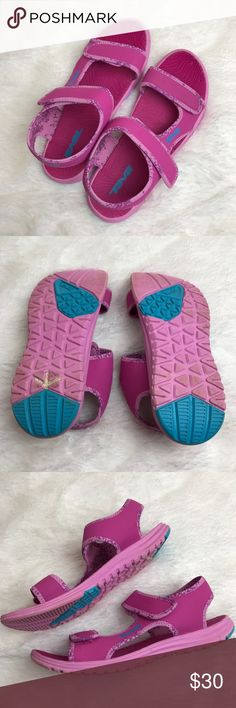Teva Women's Pink Velcro Strap Sandals Very nice Teva sandals. Gently worn with no major flaws, just normal wear from use. Some minimal dirt on the bottoms. Please see photos for exact details. Teva Shoes