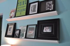 """Ok, you guys. Are you ready for my ghetto fabulous """"how to make a photo ledge""""? I am far from a carpenter.but I love how they turned out. Photo Ledge, Picture Ledge, Home Improvement Projects, Home Projects, How To Make Photo, Ghetto Fabulous, Gallon Of Paint, Diy Photo, House Design"""