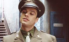 """Bucky: Hey. *EXTREME JUDGEMENT FACE* lol, it looks like he's judging Steve like """"What are you doing?...*sigh*"""""""