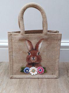 Personalised Glitter Jute Bag Gift Birthday Easter Christmas Lunch Bag