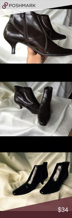 Franco Sarto Brown Booties EUC EUC!   Love these dark brown Franco Sarto booties!  Close up photos show minor wear on heel and inside. Franco Sarto Shoes Ankle Boots & Booties
