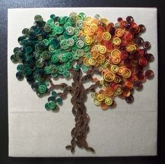 Etsy の Paper Quilled Tree Wall Art by dreamscapegallery Paper Quilling Patterns, Quilled Paper Art, Quilling Paper Craft, Quilling Flowers, Diy Paper, Paper Flowers, Paper Crafts, Origami, Quilled Creations