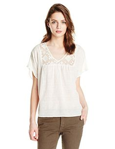VELVET BY GRAHAM & SPENCER Women's Damask Embroidered Short Sleeve Blouse