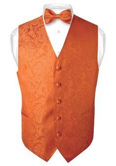 Men's Burnt Orange Paisley Design Dress Vest and BOWTie Set for Suit or Tuxedo Orange Suit, Orange Vests, Burnt Orange Color, Blue Orange, Orange Wedding Themes, Burnt Orange Weddings, Fall Wedding Tuxedos, Wedding Vest, Wedding Attire