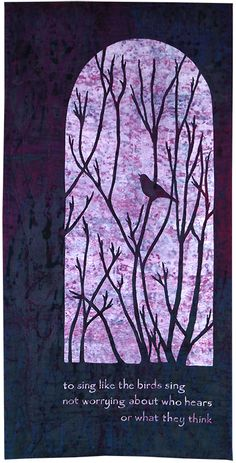 """Songburst by Sandra Newton, with inscription: """"To sing like the birds sing,  not worrying about who hears or what they think"""".  Quilters' Guild of the British Isles, 2014 Festival of Quilts."""