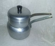 $17.96 or best offer Wear-Ever Steamer Double Boiler Pot Aluminum 1950's Candle Candy Soap Making #WearEver