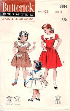Sewing Patterns Girls, Doll Clothes Patterns, Vintage Patterns, Dress Patterns, Clothing Patterns, Vintage Kids Clothes, Vintage Children, Vintage Outfits, Vintage Clothing
