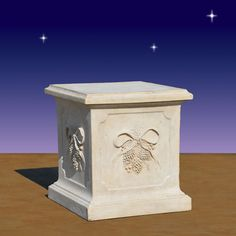 """Nativity Pedestal-Pedestal in winter theme.  24 inches high.  Can be used for displaying Nativity figures.  24 inch Pedestal Dimensions L 22.5"""" W 22.5"""" H 24"""" Weight 44 lbs Material Fiberglass Indoor or Outdoor use (see Product Care for outdoor use)   Item #39900 Our Price: $399.00"""