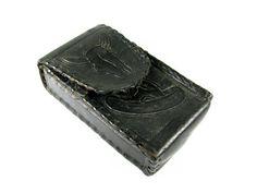 Vintage Black Leather Bull Cigarette Case Aztec  Le by MyChouchou, $28.00