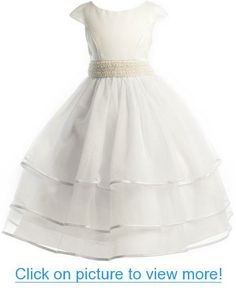 White or Ivory Beaded Waist Organza Holiday Communion Flower Girl Pageant Long Dress