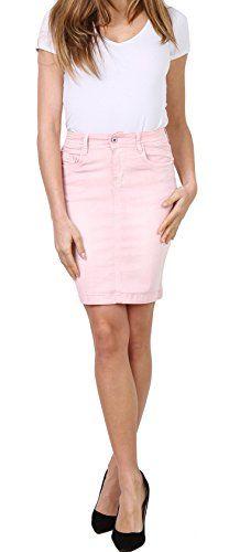 b315dd6d9a2d Onado Jupe Jeans pour Femme Jupe Courte Casual Minijupe Stretch Denim Rose  Taille 40